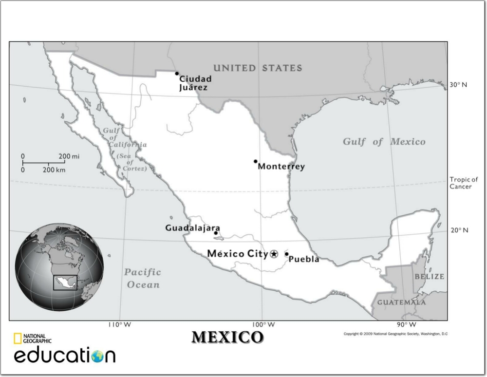 Mapa de ríos de México. National Geographic