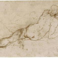 Desnudo femenino de espaldas, recostado en un paisaje [La Magdalena (¿?)]