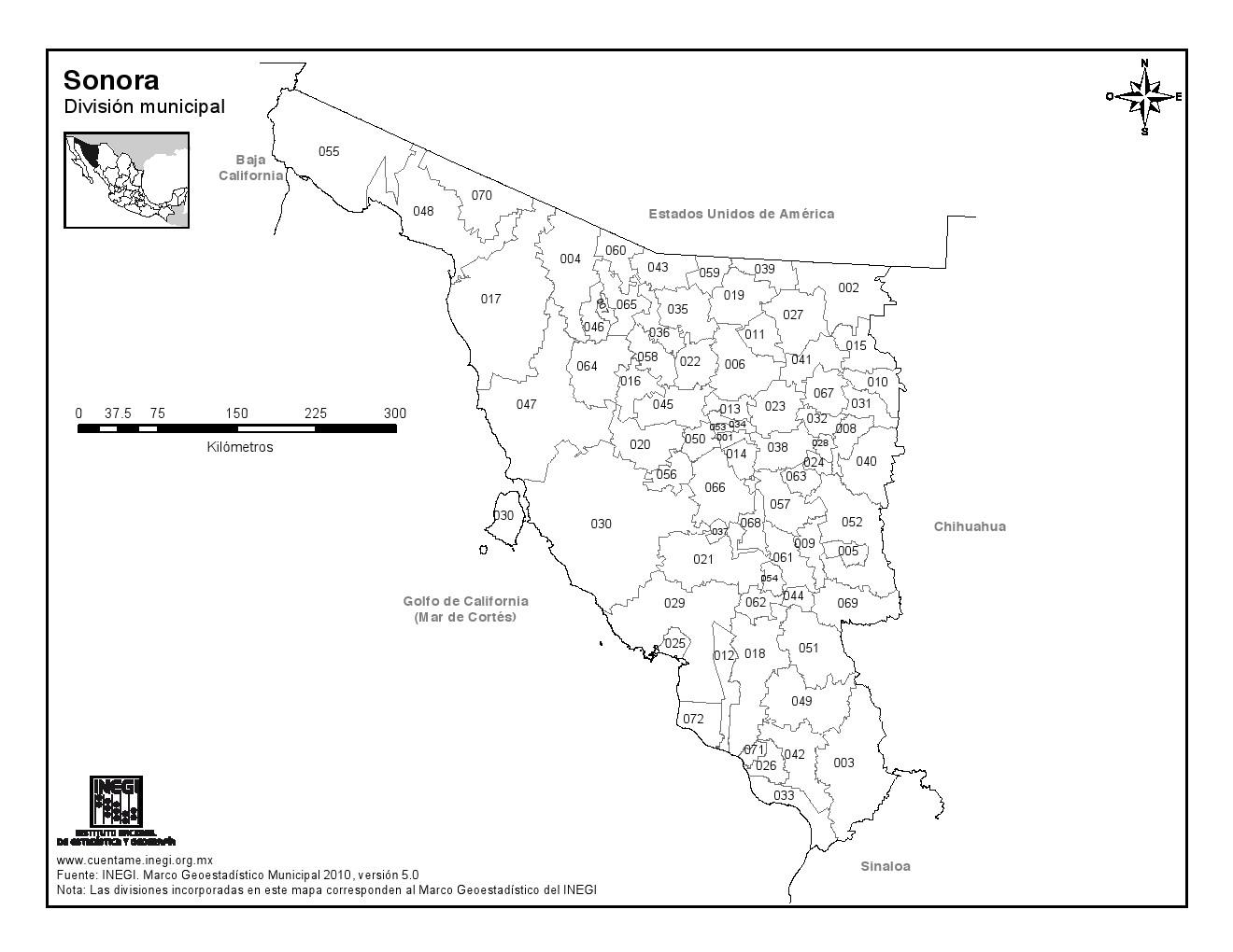 Mapa de municipios de Sonora. INEGI de México