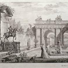 Perspectiva con figuras y arquitecturas clásicas