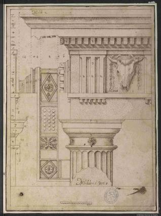 Capitel y entablamento del orden dórico