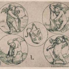 Escudo de armas de la ciudad de Leyden, rodeado de cuatro amorcillos en círculos