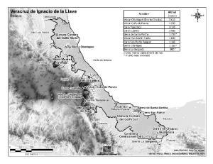 Mapa de montañas de Veracruz. INEGI de México