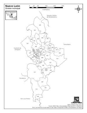 Mapa de municipios de Nuevo León. INEGI de México