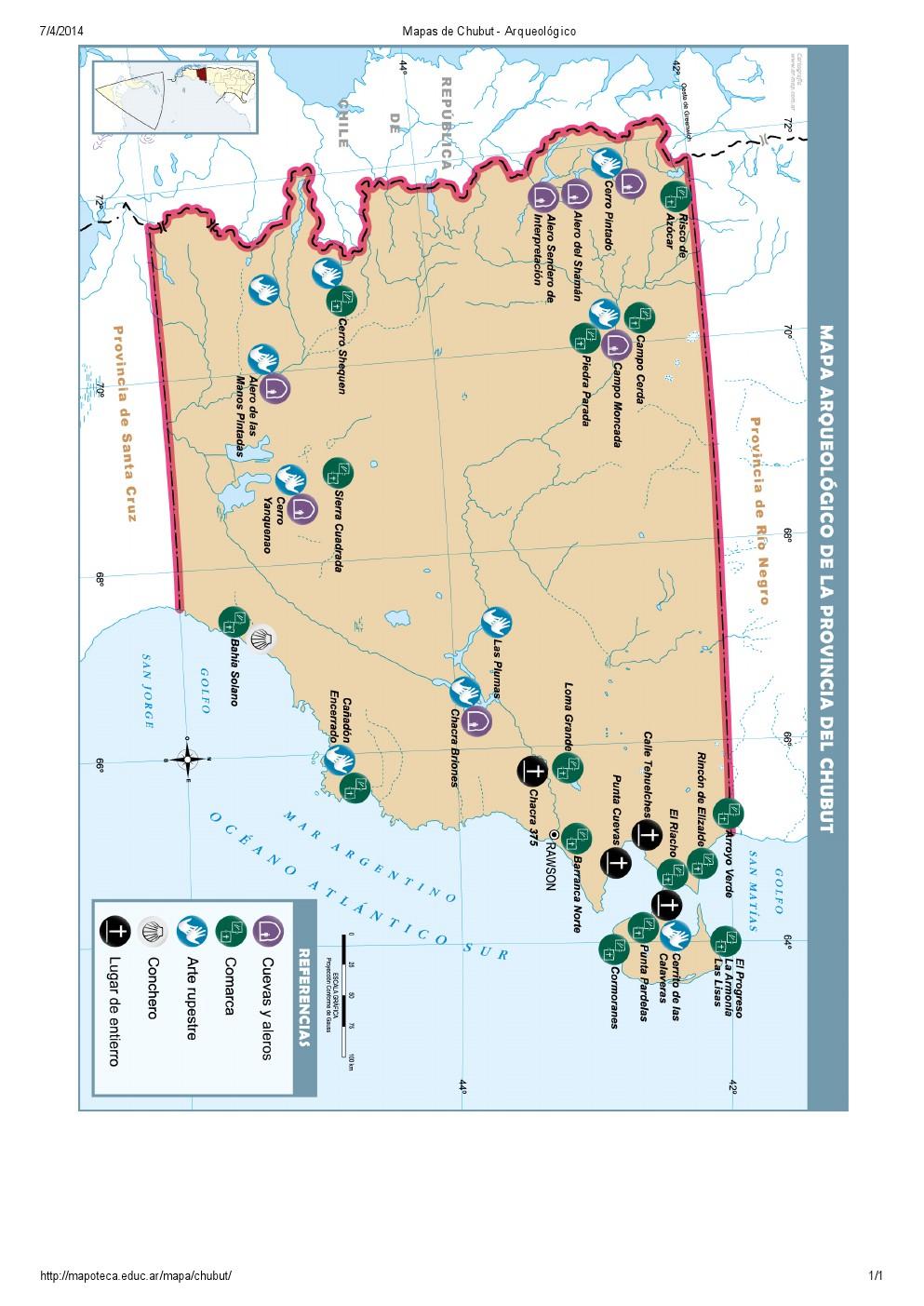 Mapa arqueológico del Chubut. Mapoteca de Educ.ar