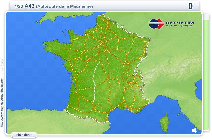 Autoroutes de France. Jeux géographiques