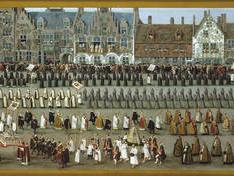 Fiestas del Ommeganck o Papagayo, en Bruselas: procesión de Nuestra Señora de Sablón