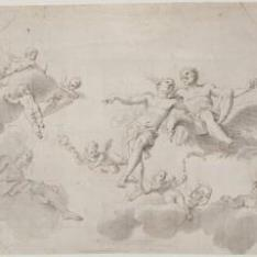 Júpiter, Mercurio y el Tiempo, acompañados de amorcillos