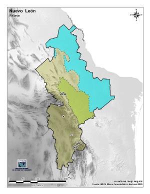 Mapa mudo de montañas de Nuevo León. INEGI de México