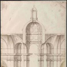 Alzado interior del crucero de un templo