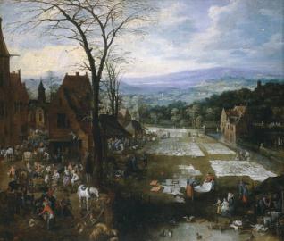 Mercado y lavadero en Flandes
