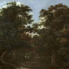 Bosque con jinetes y perros