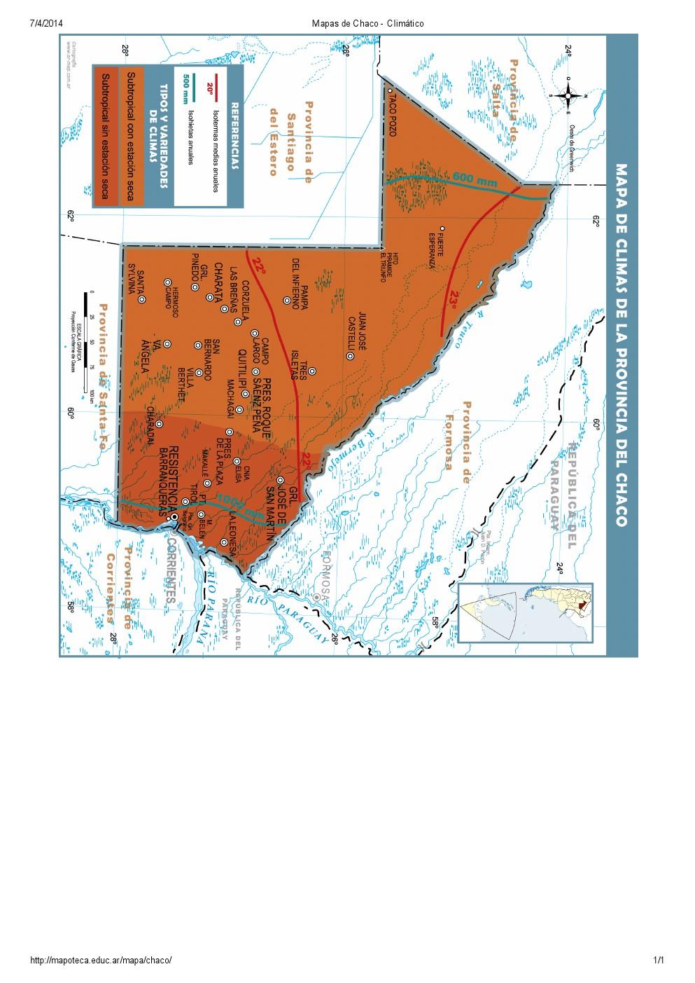 Mapa climático del Chaco. Mapoteca de Educ.ar