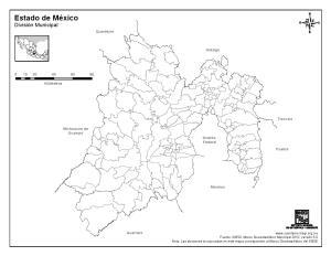 Mapa mudo de municipios del Estado de México. INEGI de México