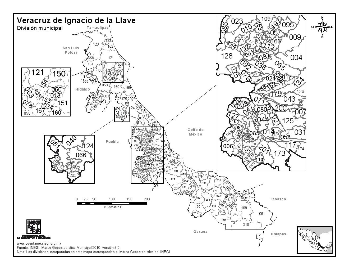 Mapa de municipios de Veracruz. INEGI de México