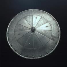 Rodela según modelos del siglo XVI