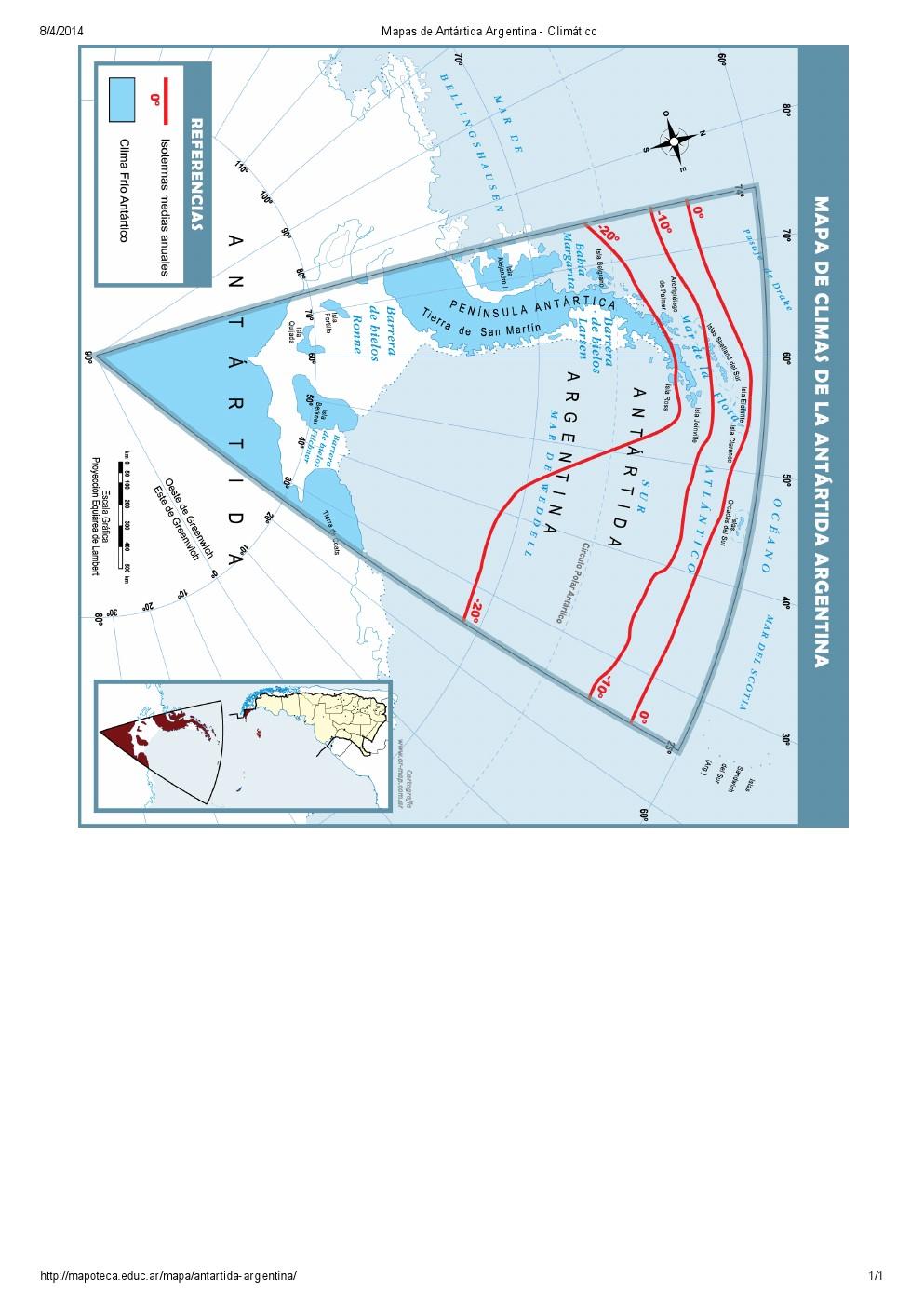 Mapa climático de la Antártida Argentina. Mapoteca de Educ.ar