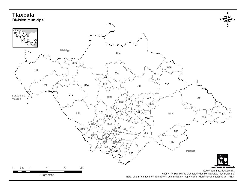Mapa mudo de municipios de Tlaxcala. INEGI de México