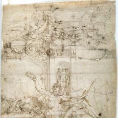 Proyecto de decoración mural [Galleria Farnese (¿?)] / Estudios de putti, de pedestales de la Antigüedad y de una columnata ficticia