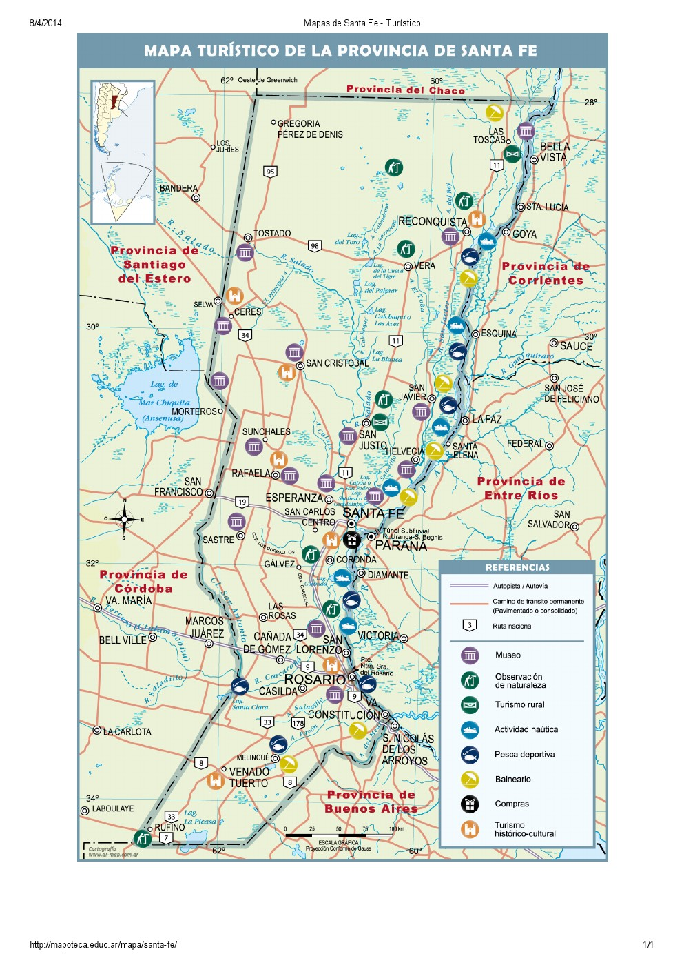 Mapa turístico de Santa Fe. Mapoteca de Educ.ar