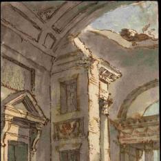 Interior arquitectónico en ruinas
