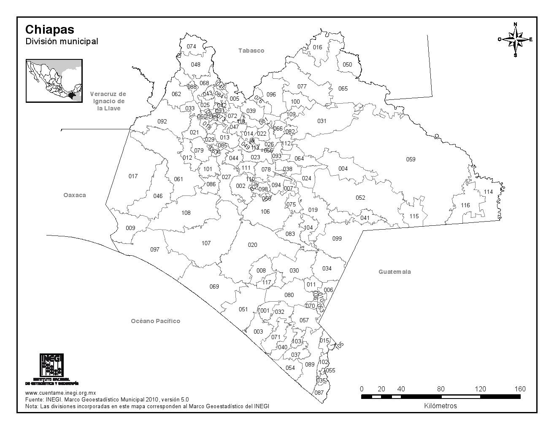 Mapa de municipios de Chiapas. INEGI de México