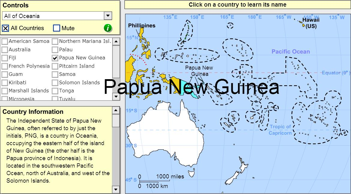 Interactive map of Oceania Countries of Oceania. Tutorial. Sheppard ...