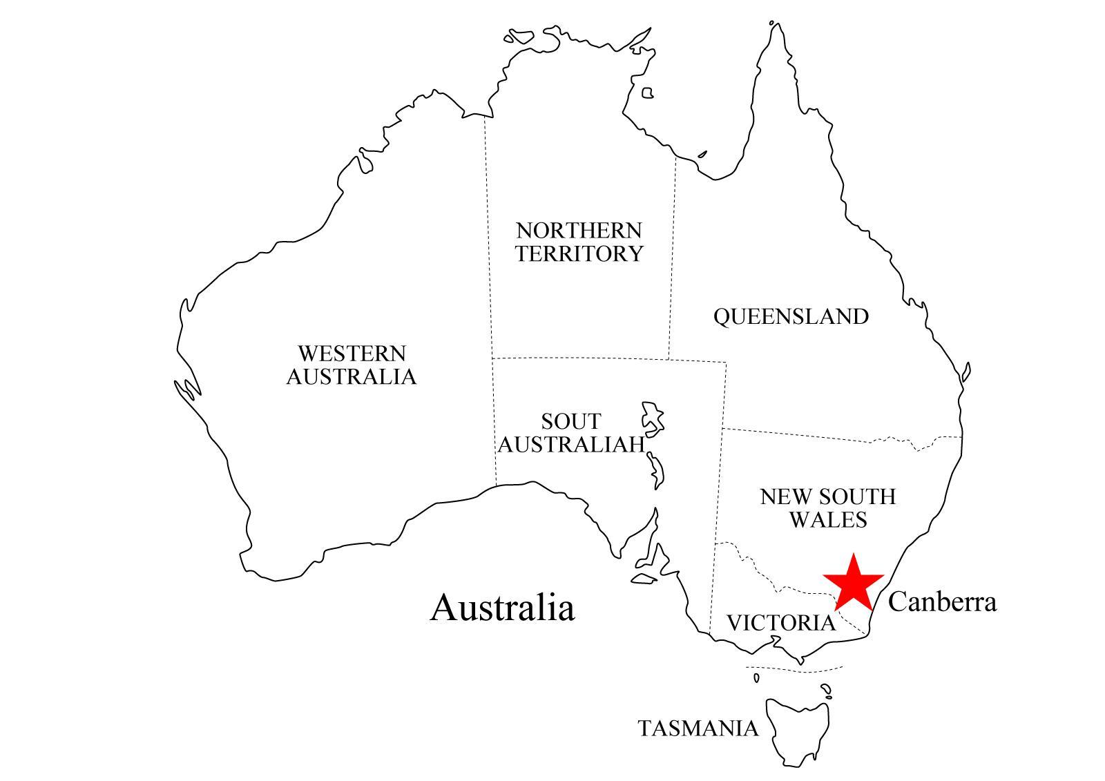 Mapa Político De Australia Para Imprimir Mapa De Estados De