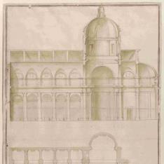 Planta, perfil y sección longitudinal de la iglesia de San Giovanni dei Fiorentini, Roma