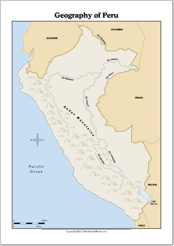Mapa de ríos y montañas de Perú. WorksheetWorks