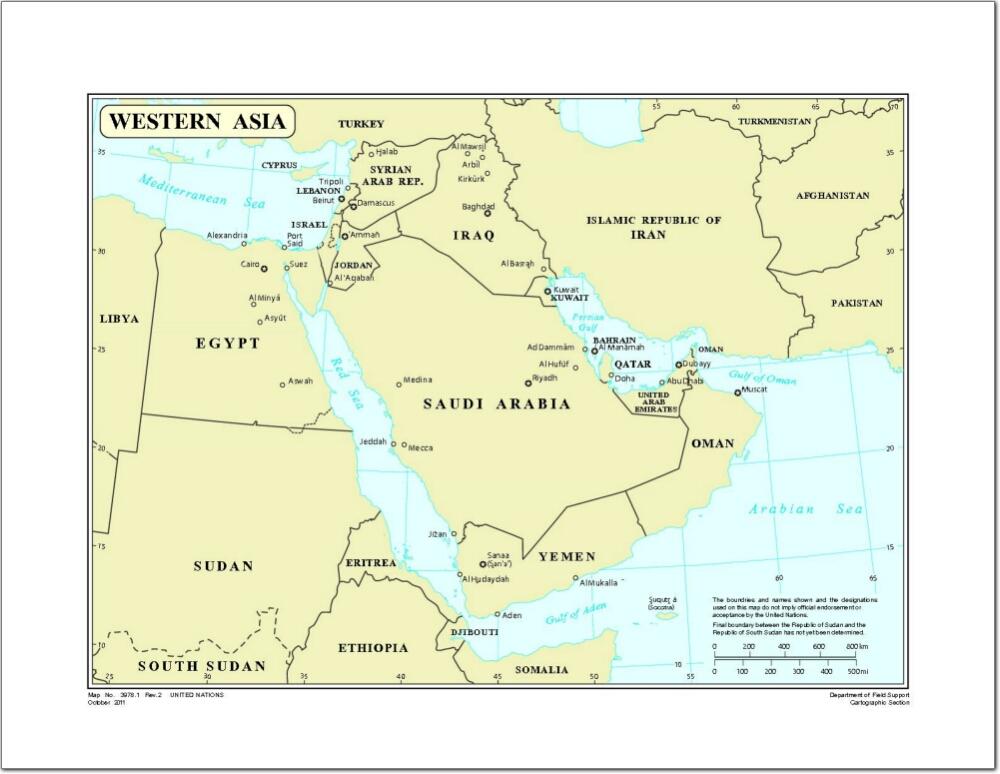 Mapa de países del oeste de Asia. Naciones Unidas