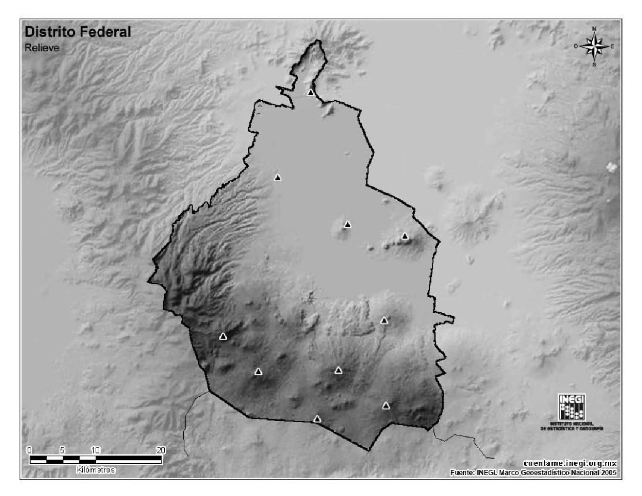 Mapa mudo de montañas de Ciudad de México. INEGI de México