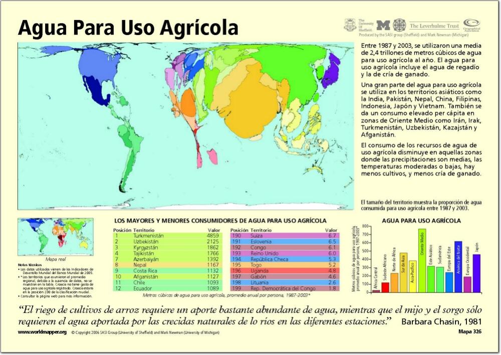 Mapa de países del Mundo. Agua para uso agrícola. Worldmapper