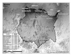 Mapa de montañas de Morelos. INEGI de México