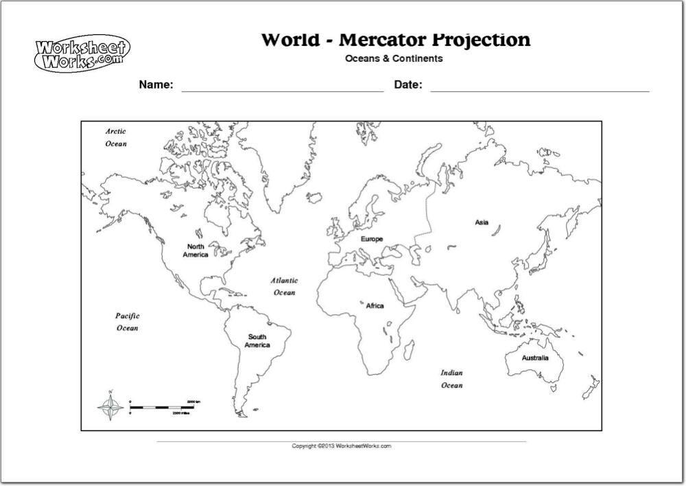 Mapa de continentes y océanos del Mundo. WorksheetWorks