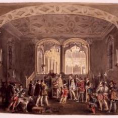 Escena histórica dentro del palacio del Infantado de Guadalajara