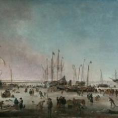 El puerto de Amsterdam en invierno