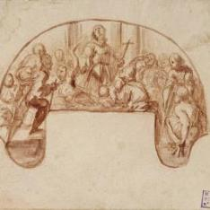 Milagro de un santo franciscano, rodeado de paralíticos