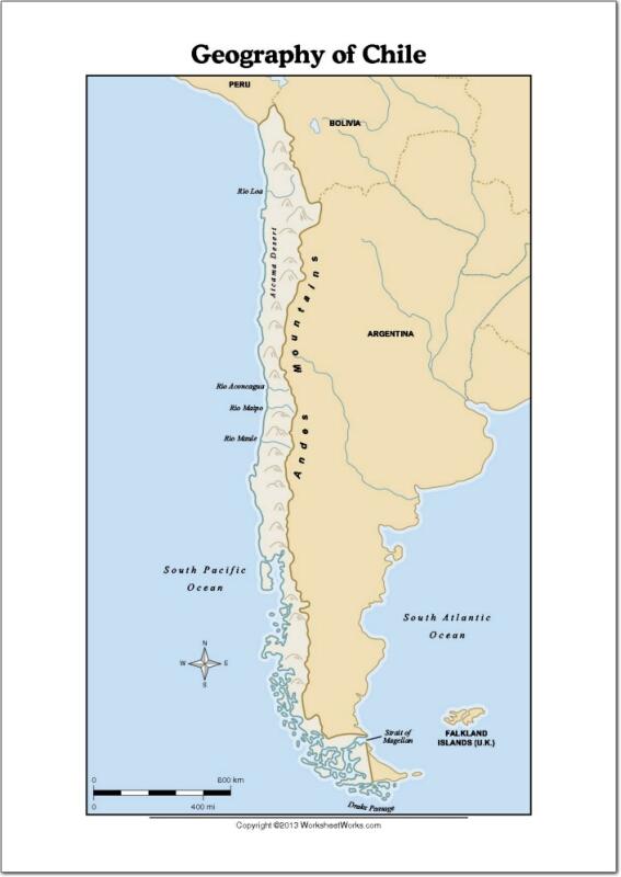 Mapa de ríos y montañas de Chile. WorksheetWorks