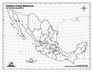 Mapa mudo de capitales de México. INEGI de México