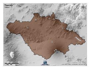 Mapa mudo de montañas de Tlaxcala. INEGI de México