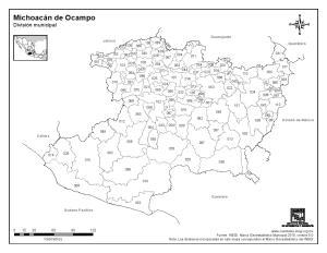 Mapa de municipios de Michoacán de Ocampo. INEGI de México