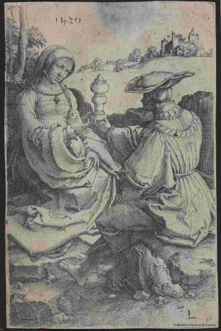 Un caballero y una dama sentados en el campo