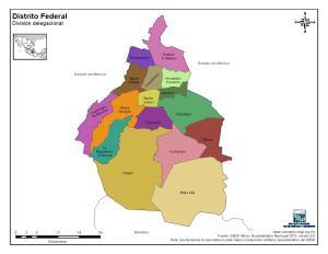 Mapa en color de los municipios de Ciudad de México. INEGI de México