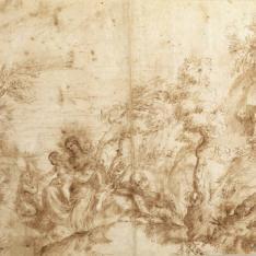 Paisaje con descanso en la Huida a Egipto / Apuntes Santa Cecilia y Virgen con el Niño
