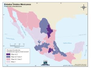 Mapa de producción manufacturera de México. INEGI de México