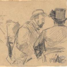Dos figuras masculinas sentadas conversando