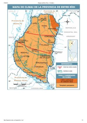 Mapa climático de Entre Ríos. Mapoteca de Educ.ar