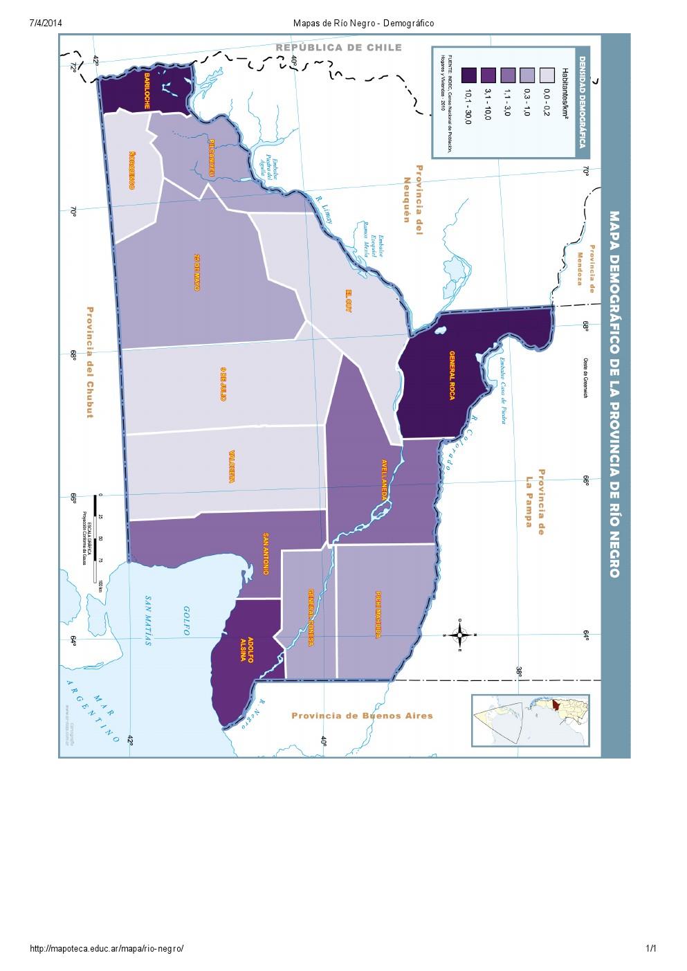 Mapa demográfico de Río Negro. Mapoteca de Educ.ar