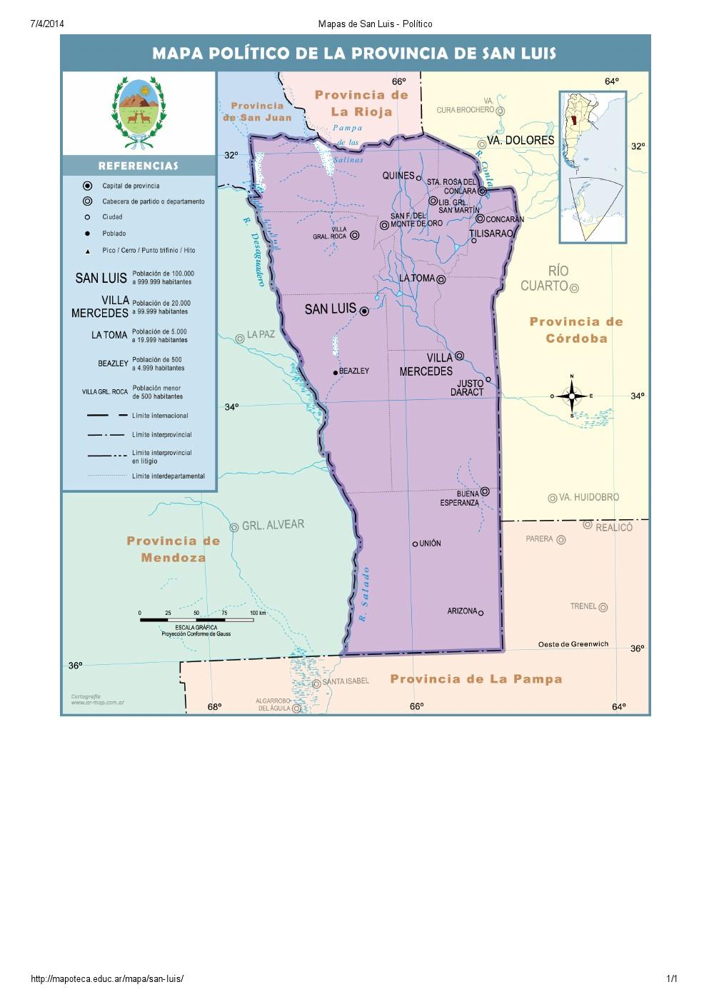 Mapa de capitales de San Luis. Mapoteca de Educ.ar